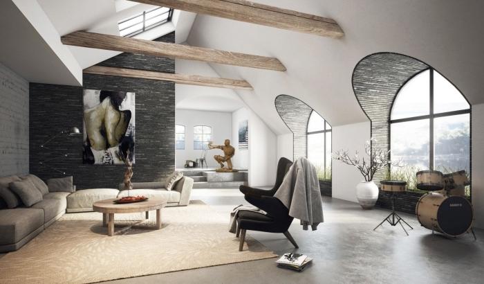 exemple amenagement salon moderne en couleurs neutres avec accents bois, modèle salon à plafond deux pentes