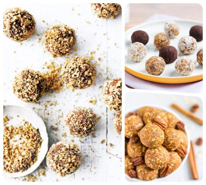plusieurs recettes saines pour faire des boules aux noix et beurre de noix avec des toppings variés de pistaches, cacao ou noix de coco rapée