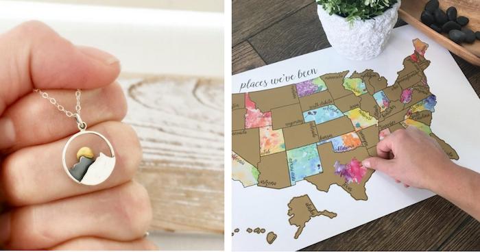 Bijou avec montagne et soleil, idée cadeau fait main, thématique cadeau pour voyageur carte à gratter