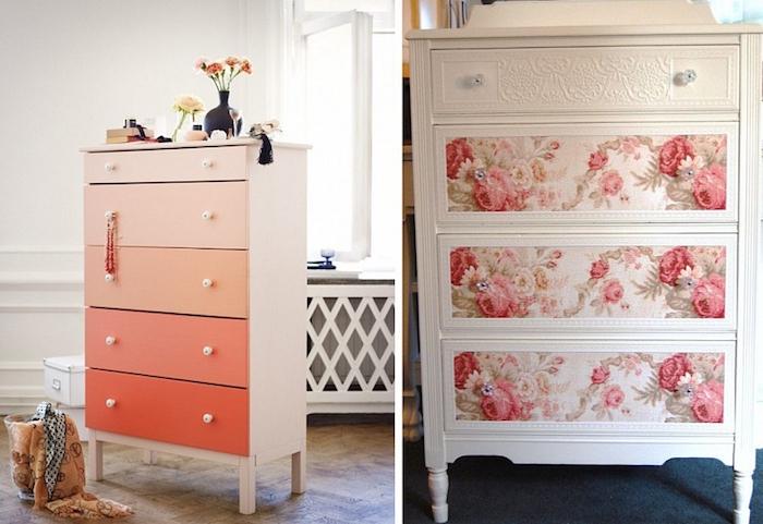 Cabinet pour chambre à coucher avec placards colorés, idée comment customiser un meuble, comment repeindre un meuble sans le poncer