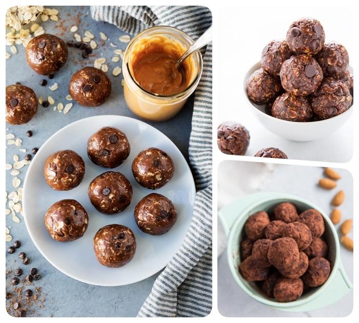 truffes aux chocolat 3 façons, faire des truffes au cacao, flacons d avoine, noix, amandes et pepites de chocolat