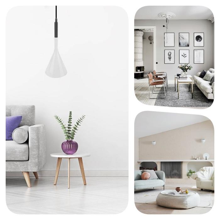 peinture gris clair, peinture grege ou blanc immaculé, nuances de blanc neutres pour amenager un salon scandinave ou cocooning