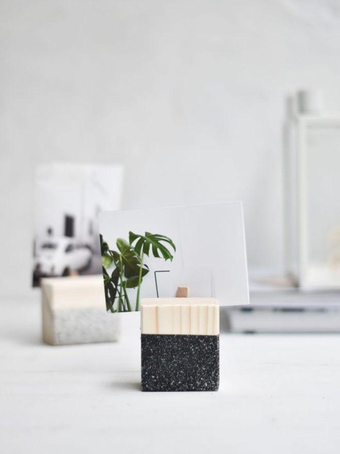 bloc de bois porte photo personnalisé pour décorer son bureau et ses étagères, bloc photo à faire soi-même