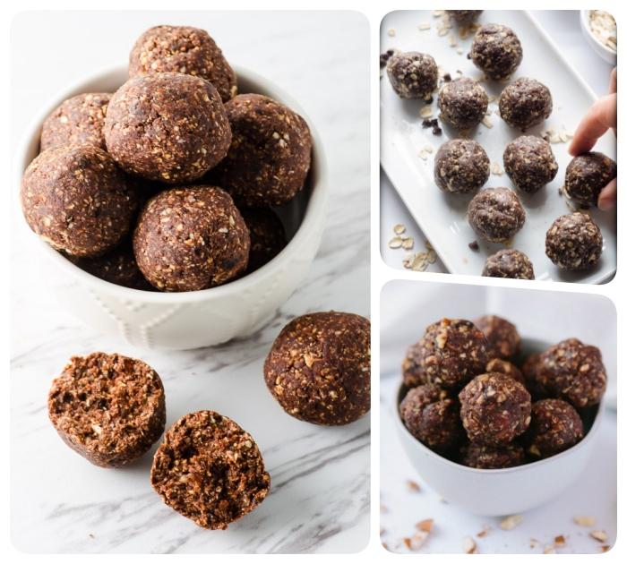 dessert sans oeuf simple et sans cuisson, idee de boules crues de flacons d avoine, beurre de cacahuete, cacao, dattes