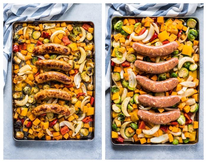 que manger ce soir, idée de repas simple de saucisses sur canapé de légumes dont poivrons, patate douce, chou de bruxelles, echalotes