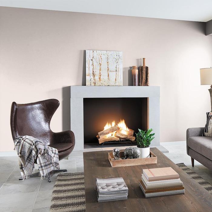 mur coouleur grege, deco minimaliste salon moderne et cosy, fauteuil marron foncé, table bois foncé, cheminée moderne et canapé gris