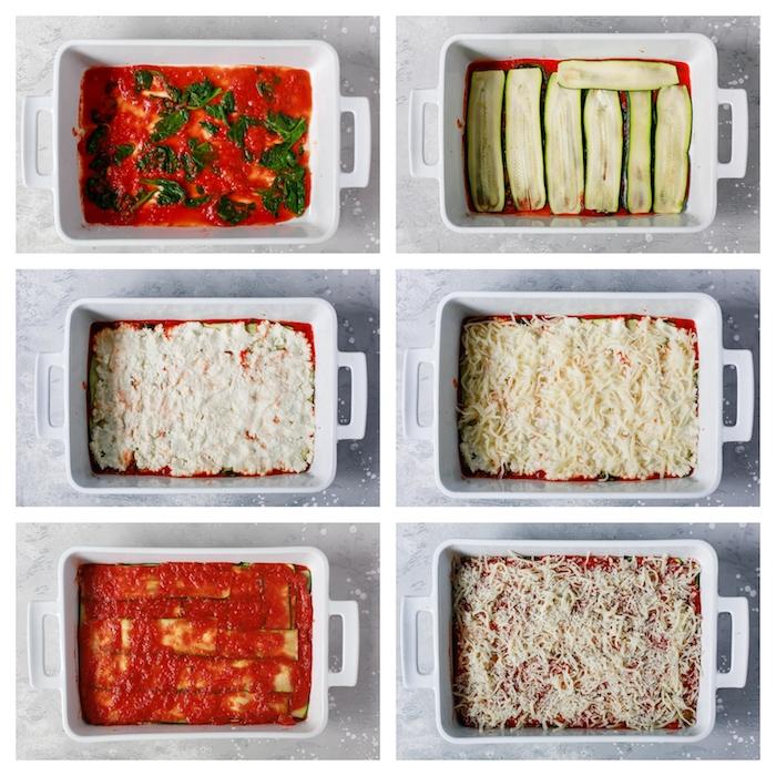 comment préparer lasagne végétarienne maison sans pâte, repas équilibré avec des tranches de courgette, sauce tomate, épinards et fromages