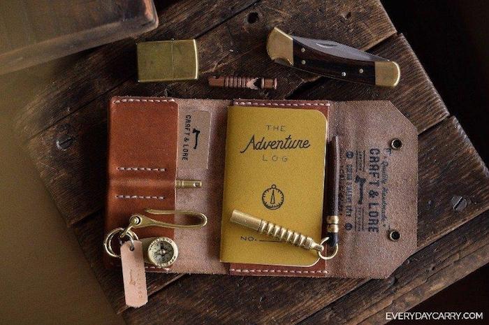 Kit aventures explorer le monde, boussole et porte feuille pour tout le nécessaire, idee cadeau original, objet offert pour faire plaisir thème voyage