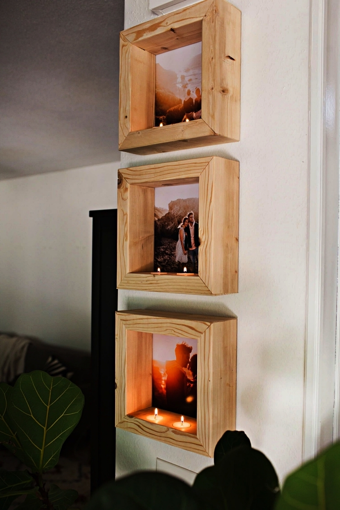 support cadre photo en bois avec emplacement pour bougies, étagère pour photo en bois à faire soi-même
