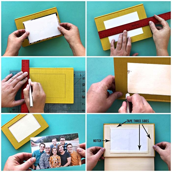 tuto facile pour réaliser un cadre photo à partir d'un livre recyclé à couverture rigide, bricolage avec vieux livres