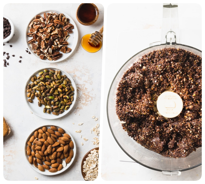 flacons d avoine, noix de pecan, pistaches, amandes, pepites de chocolat, miel pour faire dessert sans cuisson cru simple