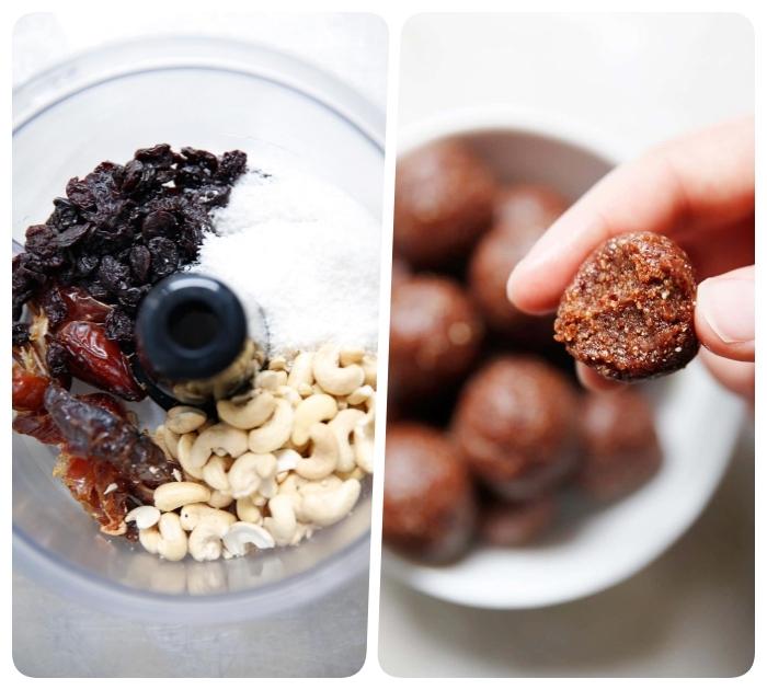 noix dde cajou, cerises séchées, dattes et flacons de noix de coco rapée pour preparer la meilleure collation saine