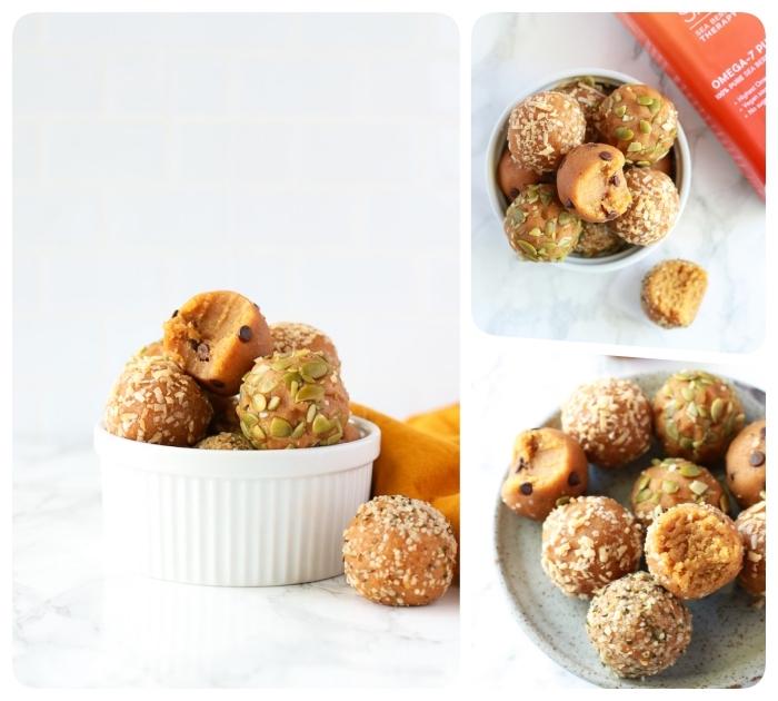 graines de potirn, graines de sésame et mini pepites de chocolat pour decorer et garnir des boules aux noix de cacahuete