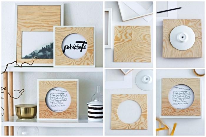 grand cadre photo avec passe-partout en bois clair avec découpage rond ou rectangulaire, cadre photo diy