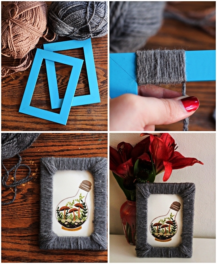 customiser un cadre photo avec de la laine, habiller un cadre avec de la laine
