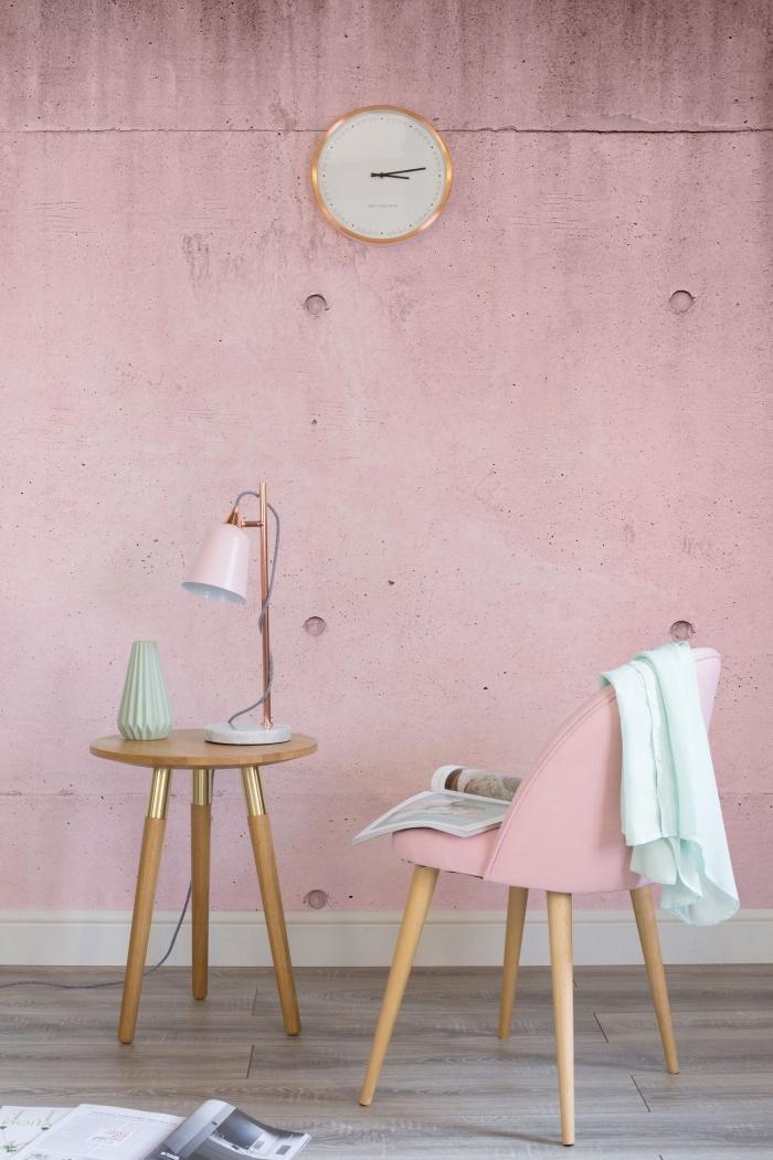 idée couleur rose pale pour peinture dans une chambre fille, décoration féminine en nuances de rose avec accents bois