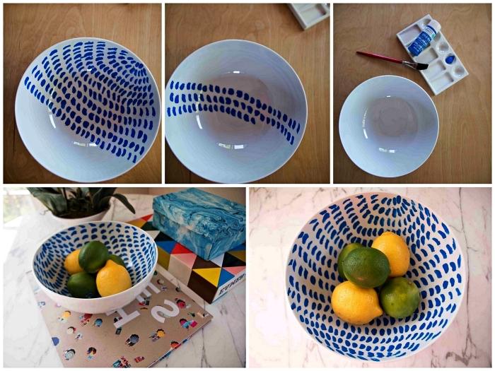 touches de peinture céramique bleue pour personnaliser un bol en porcelaine, idées créatives pour personnaliser sa vaisselle