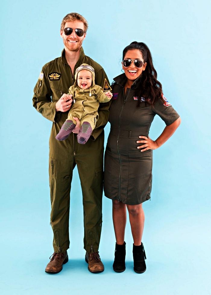 costume année 80 de pilote aviateur, déguisement top gun pour couple composé de combinaison d'aviateur