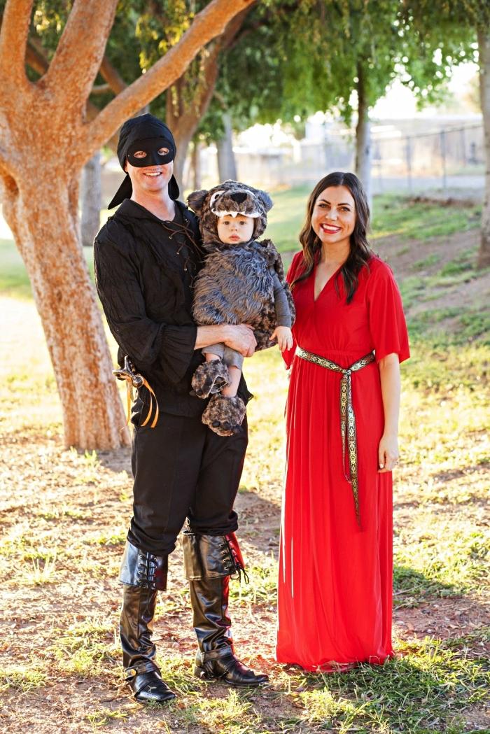 idée déguisement de groupe pour famille, déguisement de princesse bouton d'or en robe longue rouge, de brigand et de petit ourson