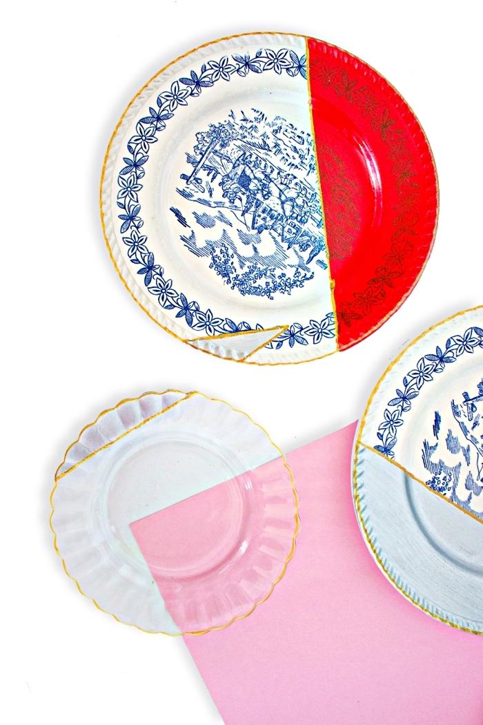 assiettes vintage en porcelaine à motifs géométriques peints, customiser l'ancienne vaisselle avec de la peinture à porcelaine