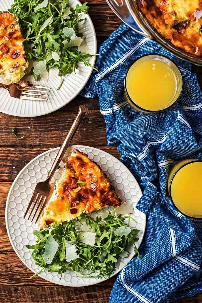 recette facile pour le soir à base d'oeufs, quiche allégée sans pâte au bacon et fromage