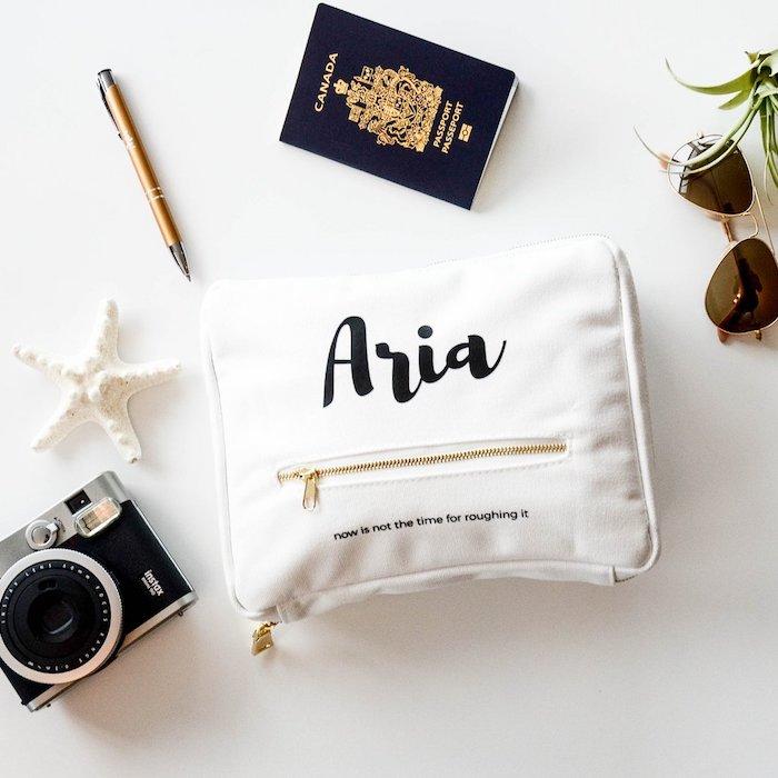 Aria beau cadeau fait main, idée cadeau meilleure amie personnalisé sac pour ramasser tout le nécessaire pour son voyage
