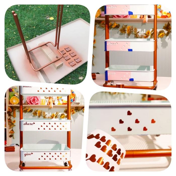 relooking meuble avec de la peinture couleur cuivre et pochoir, idee comment customiser un meuble