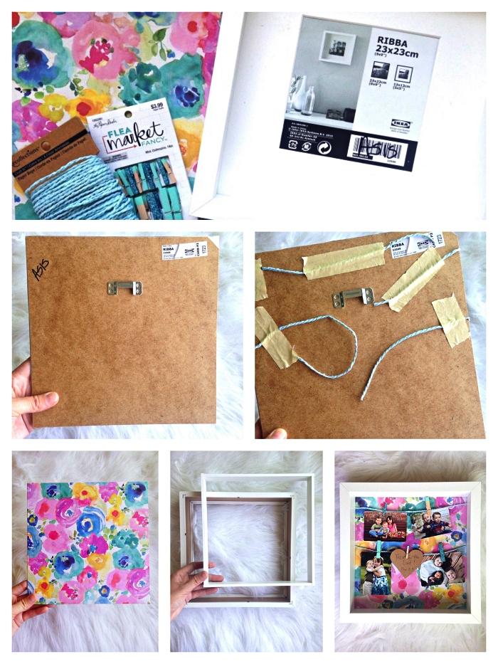 customiser un ikea cadre photo avec du papier scrapbooking et de la ficelle, cadre décoratif pour photos multiples avec de la corde et des pinces à linge décoratives