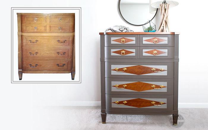 vieux commode en bois transformé en nouveau en gris et formes géométriques, meuble peint, quelle peinture pour repeindre un meuble en bois