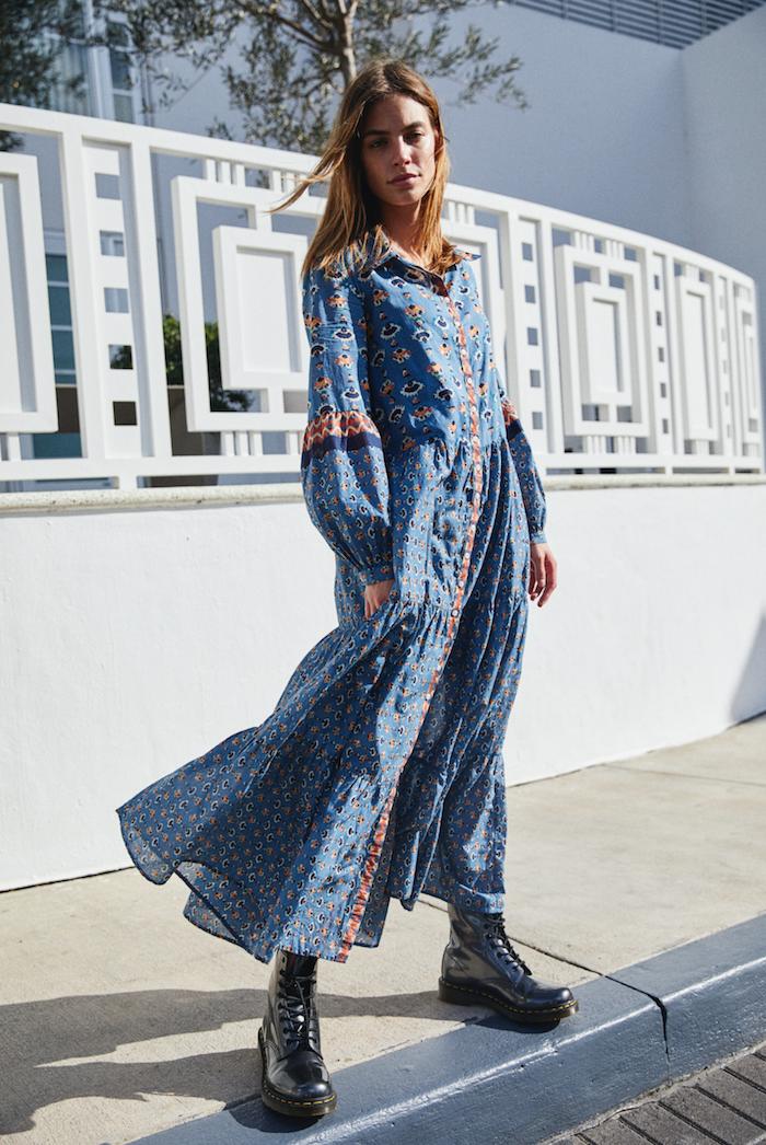Bohème robe longue boheme, comment être bien habillée., femme inspiratrice, blogger femme bien habillée avec bottes grunge