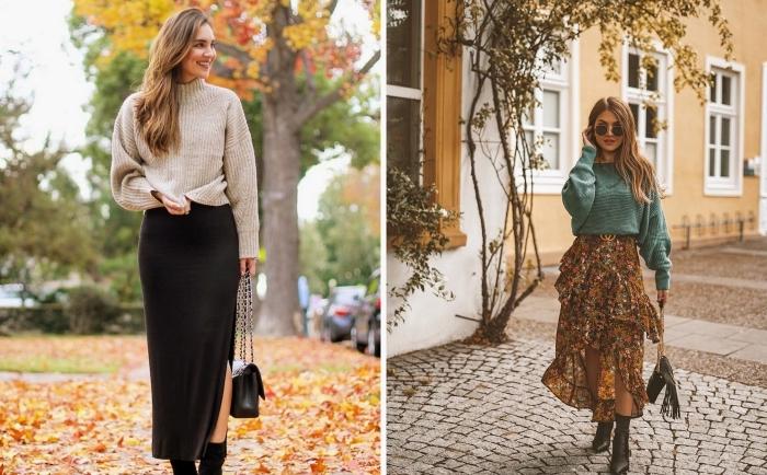 tenue classe femme automne 2019, idée look casual chic en pull beige combiné avec une jupe noire avec fente