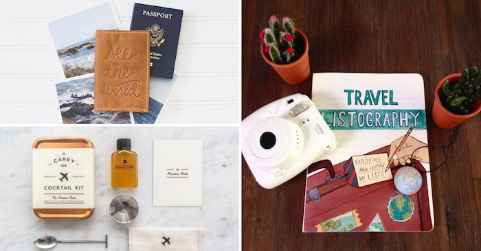 Carry on kit cocktail, couverture passeport, cahier diy voyage et un polaroid, cool idées cadeau pour voyageur