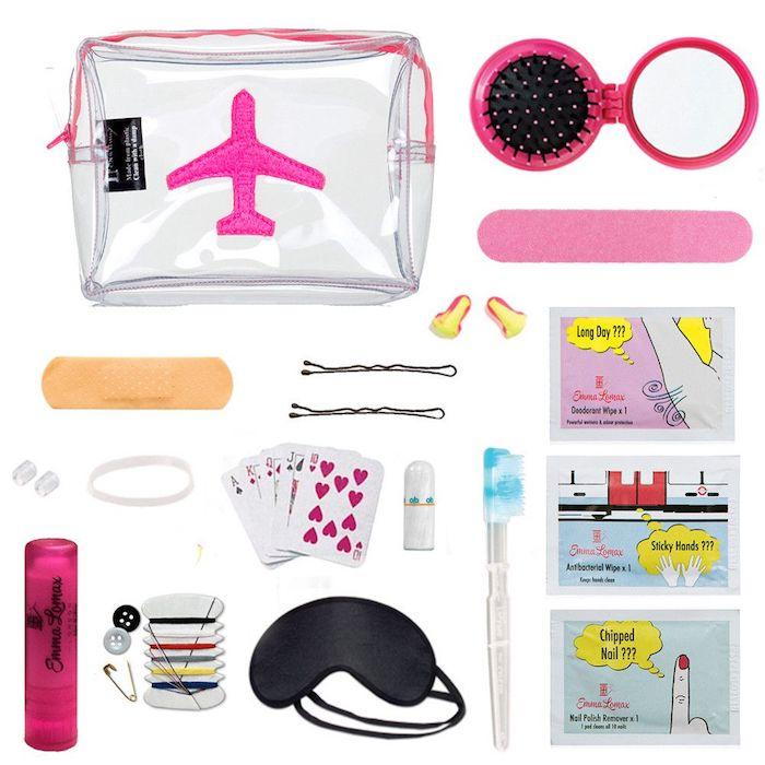 Kit de voyage avec tout le nécessaire pour se sentir bien, idee cadeau original pour ceux qui aiment voyager, cadeau de voyage