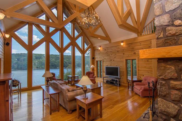 Luxueux chalet, intérieur deco cocooning, deco chalet montagne au bord d'un lac cosy style nordique