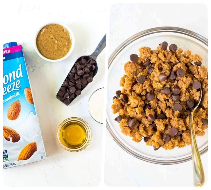 lait d amande, pepites de chocolat, beurre d amande, miel et farine d amande pour faire pâte à cookie façon energy ball