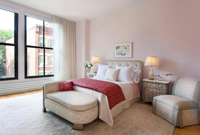 idée couleur chambre adulte, design intérieur style moderne, peinture rose poudré, exemple comment aménager une chambre d'hôtes stylée