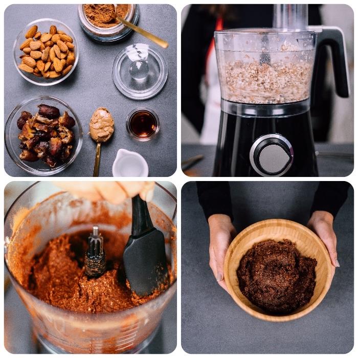 comment faire des faux truffes au chocolat vegan, recette energy ball aux dattes, amandes, cacao, beurre de cacahuete, sirop d erable