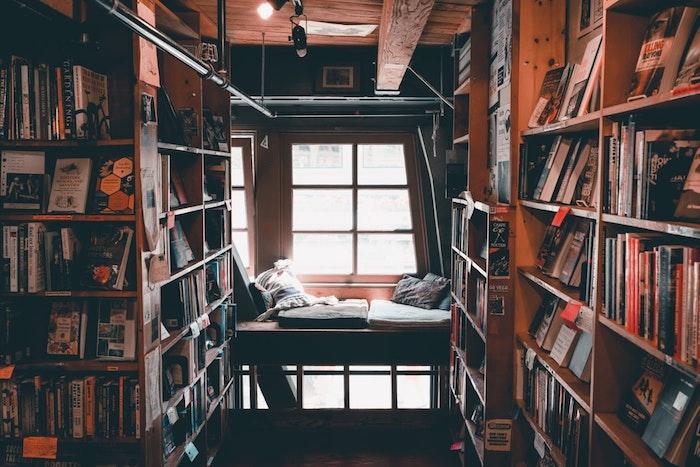 Détente avec livre dans la main, cool coin lecture dans une grande bibliothèque, ménage à domicile, mieux gérer son temps