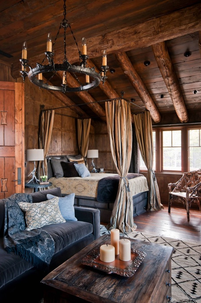 Rustique chambre bien décoré, tapis géométrique déco salon cocooning, interieur chalet cool idée confort