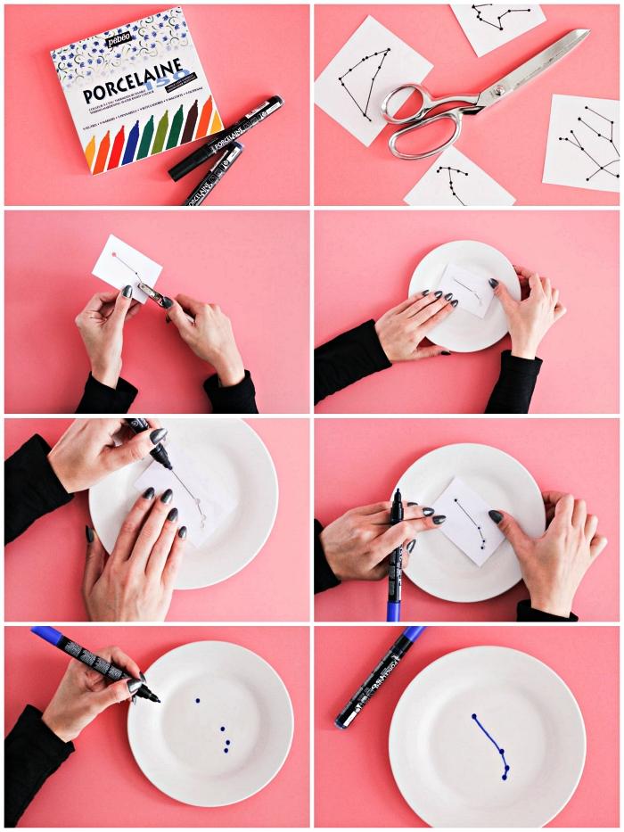 idées de travaux manuels avec peinture à porcelaine, décorer des assiettes blanches avec dessins de constellation du zodiaque réalisé au feutre porcelain