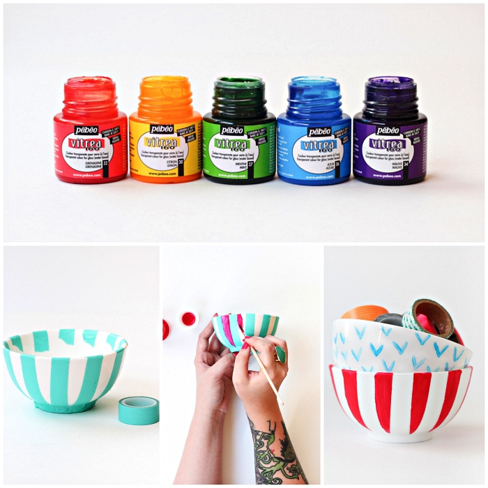 travaux manuels pour adultes, décorer des bols en céramique avec de la peinture sur verre et du masking tape