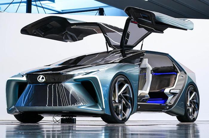 Look dans le futur, Lexus présent ses premières voitures électriques, conception magnifique de voiture moderne