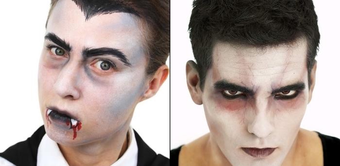 comment se déguiser pour Halloween homme, idée maquillage vampire homme, visage blanc avec lèvres noires