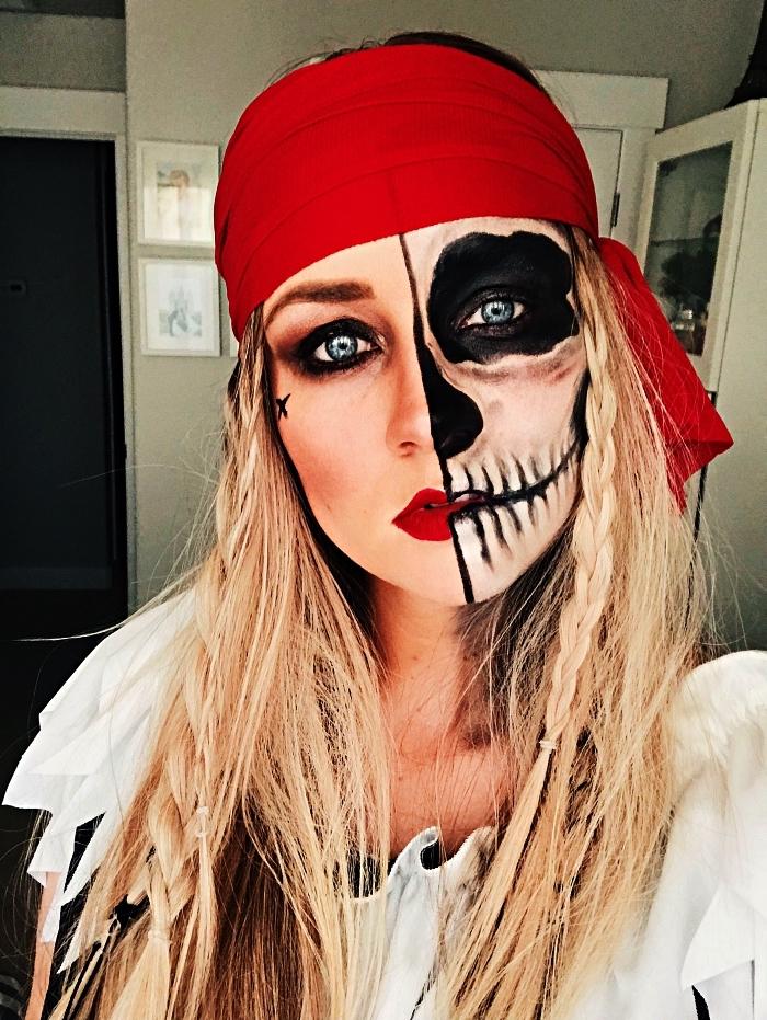 idée de maquillage halloween facile faire maison, maquillage de squelette pirate femme, maquillage squelette sur la moitié du visage