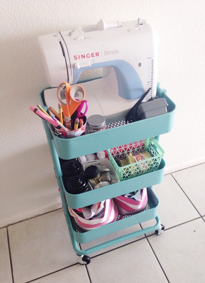 idee rangement outils et matériel tricot, couture, machine à coudre, bidouille ikea rangement