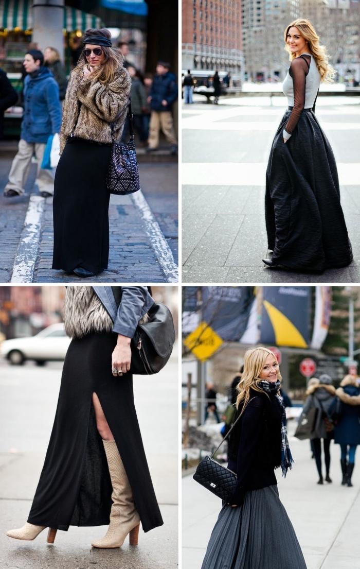tenue femme avec jupe taille haute longue, modèle de bottes tendance femme automne-hiver couleur beige à talons