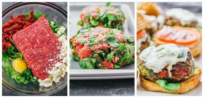 comment faire un burger maison à la viande hachée, tomates hachées, fromage feta, oeuf et épinards, repas du soir rapide