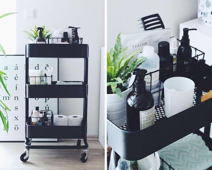 idee de desserte salle de bain ikea de couleur noire avec rouleaux papier toilette de autres produits soin corps et cheveux, ikea hacks
