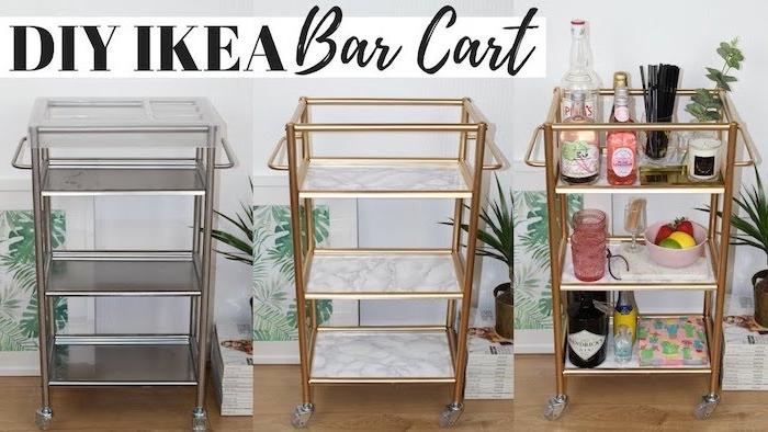 mini bar fabriqué dans une desserte couleur or avec rangements papier marbre, idee rangement bouteilles boissons, prodtuis pour faire un cocktail