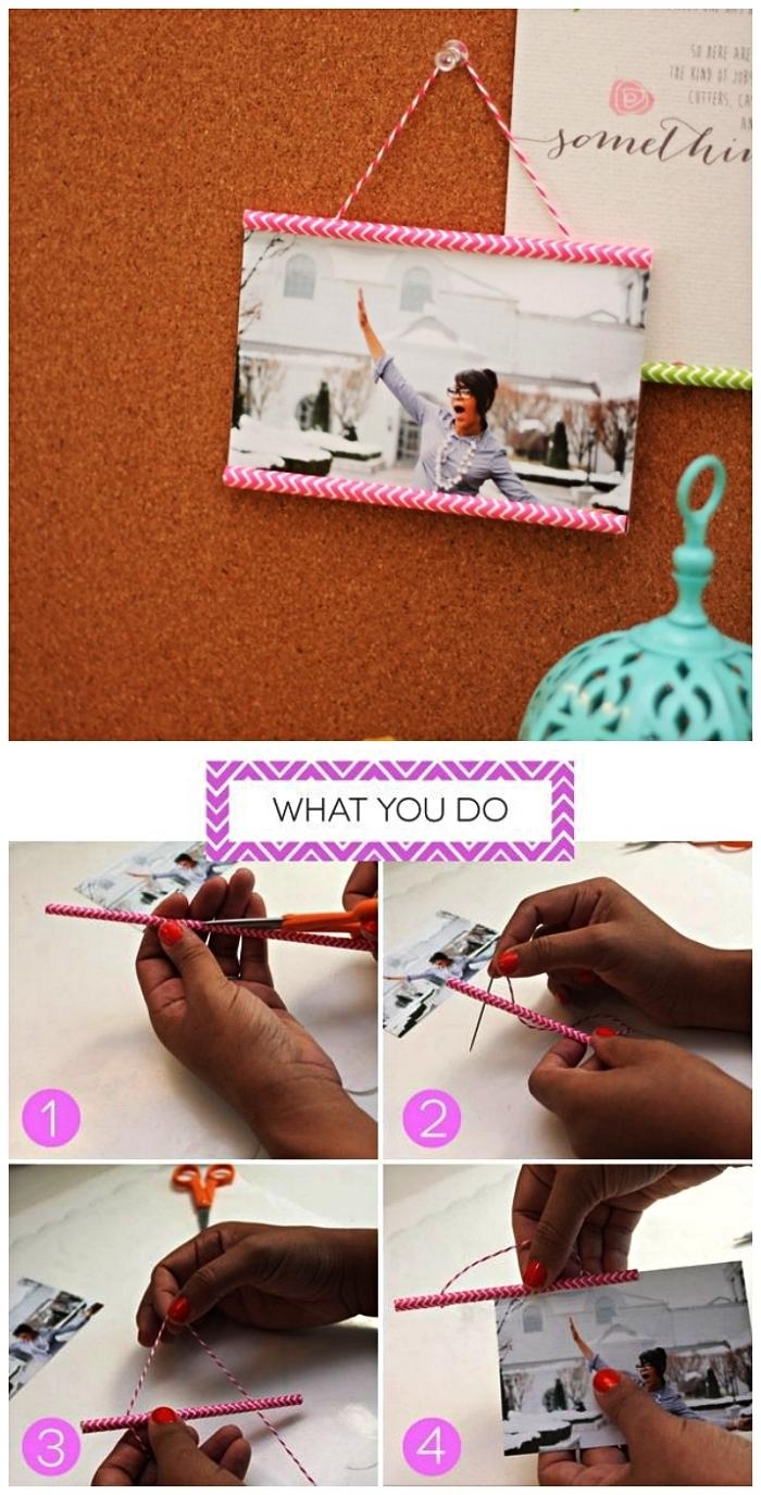 mini cadre photo à suspendre réalisé avec des pailles, bricolage facile pour recycler ses pailles